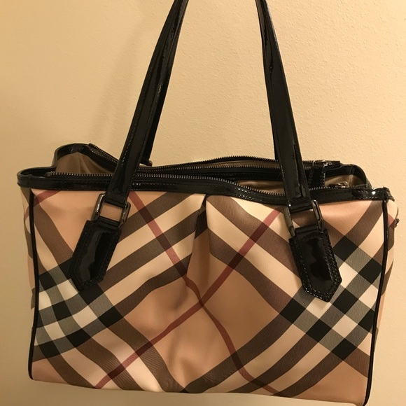 Burberry Handbags - BURBERRY Patent Trim Supernova Check Medium Tote dfe31276de771